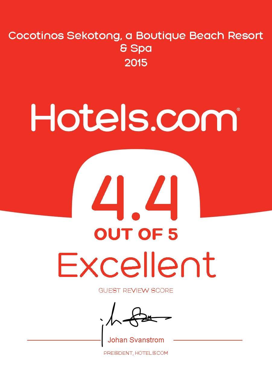 Hotels.com Certificate Exellent