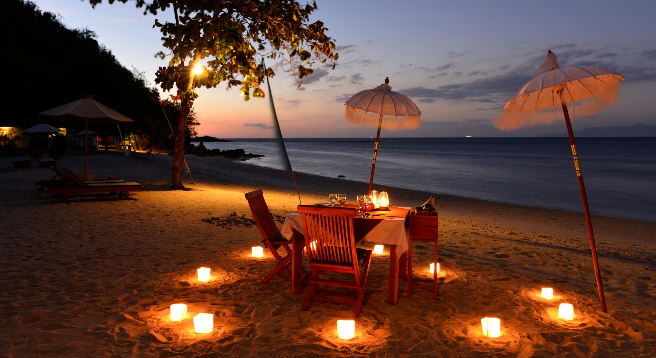 Candle Light Dinner Setup by the beach