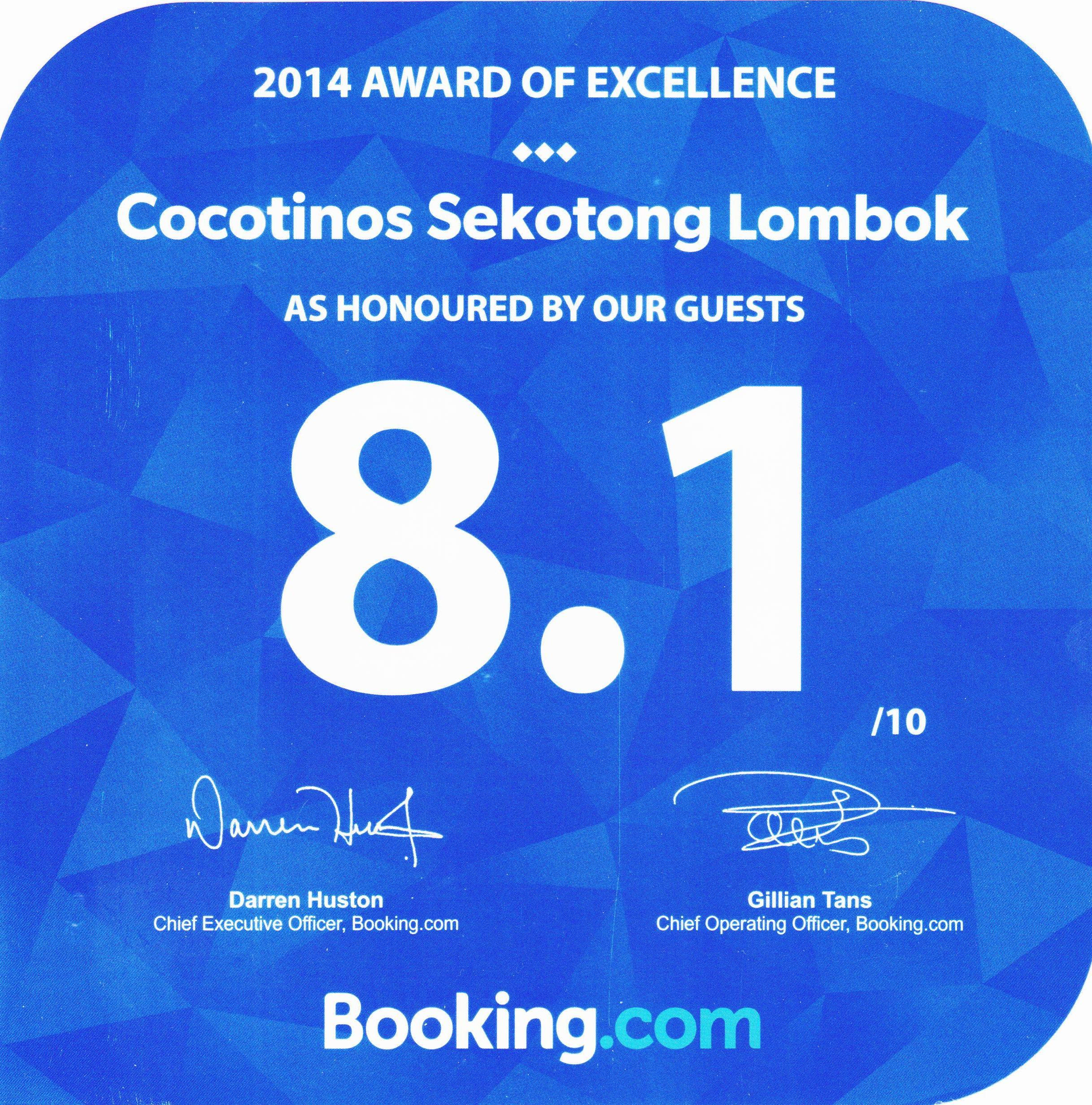 Booking.com 2014 AWARD of Excellence